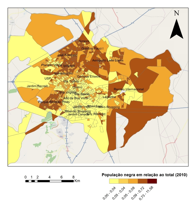Proporção de população autodeclarada negra em relação a população total, por setores censitários (2010). Fonte: IBGE. Autor: André Celarino